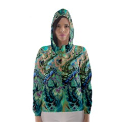 Fractal Batik Art Teal Turquoise Salmon Hooded Wind Breaker (women) by EDDArt
