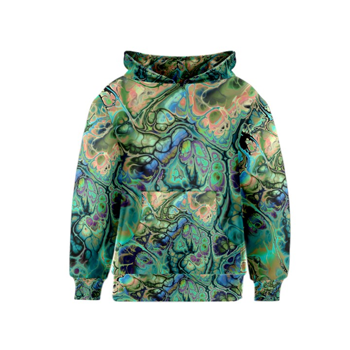 Fractal Batik Art Teal Turquoise Salmon Kids  Pullover Hoodie