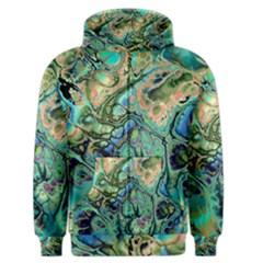 Fractal Batik Art Teal Turquoise Salmon Men s Zipper Hoodie