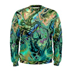 Fractal Batik Art Teal Turquoise Salmon Men s Sweatshirt