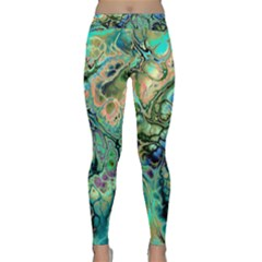Fractal Batik Art Teal Turquoise Salmon Yoga Leggings