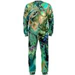 Fractal Batik Art Teal Turquoise Salmon OnePiece Jumpsuit (Men)