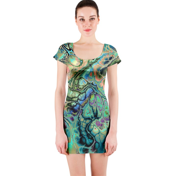 Fractal Batik Art Teal Turquoise Salmon Short Sleeve Bodycon Dress