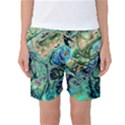 Fractal Batik Art Teal Turquoise Salmon Women s Basketball Shorts View1