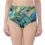 Fractal Batik Art Teal Turquoise Salmon High-Waist Bikini Bottoms