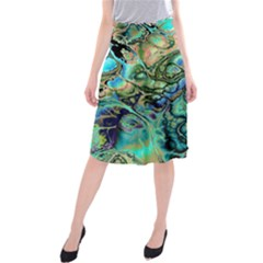 Fractal Batik Art Teal Turquoise Salmon Midi Beach Skirt by EDDArt