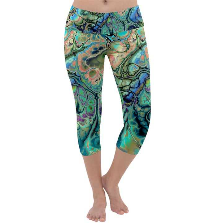 Fractal Batik Art Teal Turquoise Salmon Capri Yoga Leggings