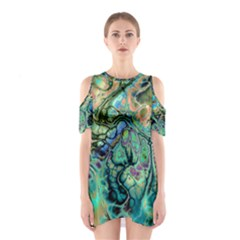 Fractal Batik Art Teal Turquoise Salmon Cutout Shoulder Dress by EDDArt