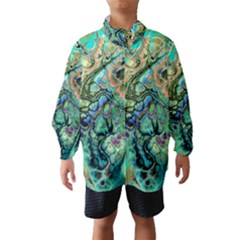 Fractal Batik Art Teal Turquoise Salmon Wind Breaker (kids) by EDDArt
