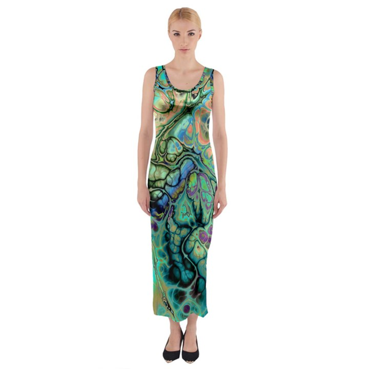 Fractal Batik Art Teal Turquoise Salmon Fitted Maxi Dress