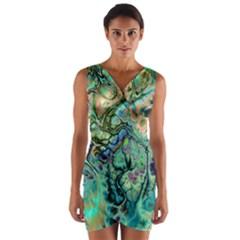 Fractal Batik Art Teal Turquoise Salmon Wrap Front Bodycon Dress