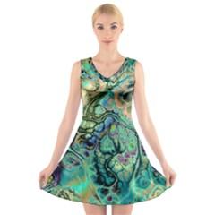 Fractal Batik Art Teal Turquoise Salmon V-Neck Sleeveless Skater Dress