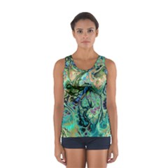 Fractal Batik Art Teal Turquoise Salmon Women s Sport Tank Top  by EDDArt
