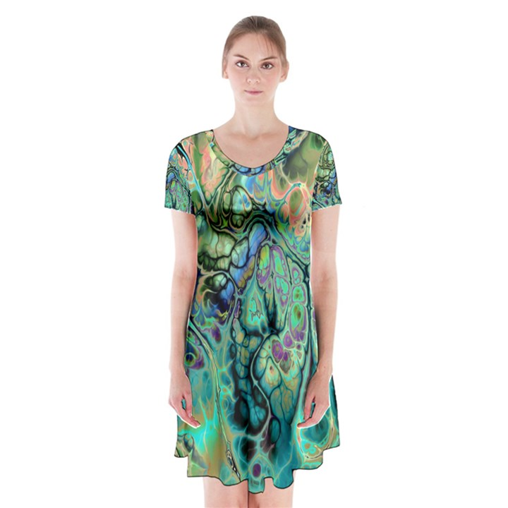 Fractal Batik Art Teal Turquoise Salmon Short Sleeve V-neck Flare Dress
