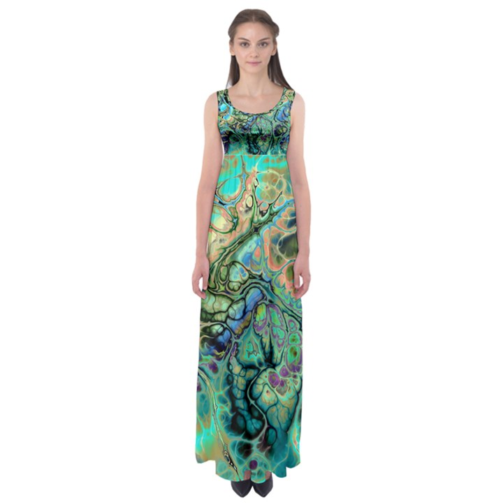 Fractal Batik Art Teal Turquoise Salmon Empire Waist Maxi Dress