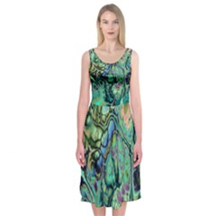 Fractal Batik Art Teal Turquoise Salmon Midi Sleeveless Dress