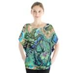 Fractal Batik Art Teal Turquoise Salmon Blouse
