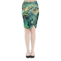 Fractal Batik Art Teal Turquoise Salmon Midi Wrap Pencil Skirt
