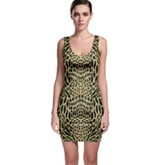 Brown Reptile Sleeveless Bodycon Dress