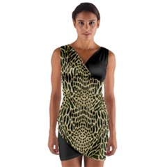 Brown Reptile Wrap Front Bodycon Dress