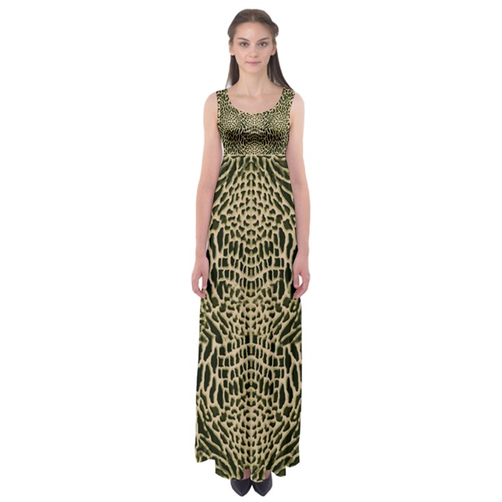 BROWN REPTILE Empire Waist Maxi Dress