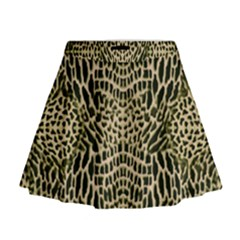 Brown Reptile Mini Flare Skirt by LetsDanceHaveFun