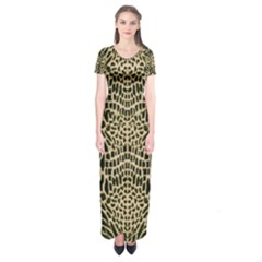 Brown Reptile Short Sleeve Maxi Dress