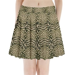 Brown Reptile Pleated Mini Skirt