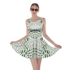 Green Snake Texture Skater Dress
