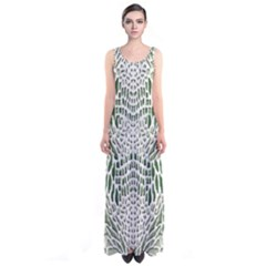 Green Snake Texture Sleeveless Maxi Dress
