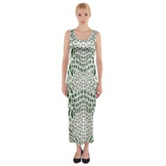 Green Snake Texture Fitted Maxi Dress