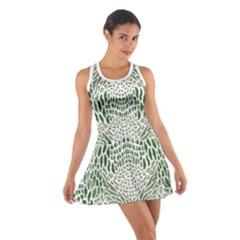 Green Snake Texture Cotton Racerback Dress
