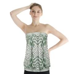 Green Snake Texture Strapless Top