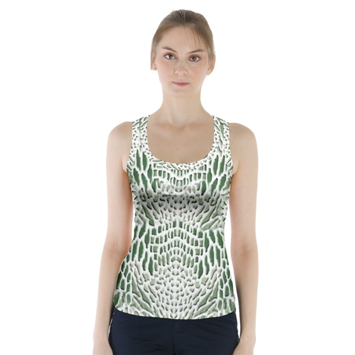 GREEN SNAKE TEXTURE Racer Back Sports Top