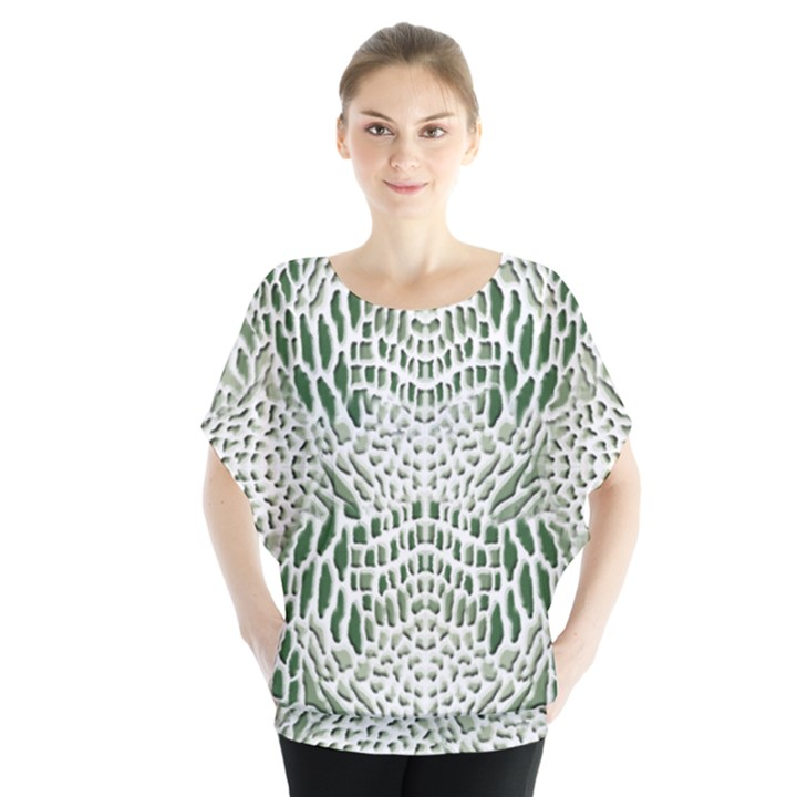 GREEN SNAKE TEXTURE Blouse