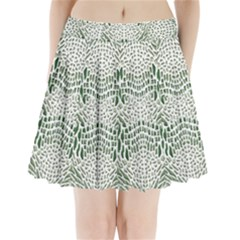 Green Snake Texture Pleated Mini Skirt