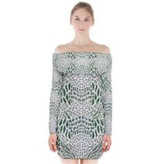 Green Snake Texture Long Sleeve Off Shoulder Dress by LetsDanceHaveFun