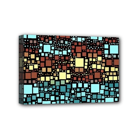 Block On Block, Aqua Mini Canvas 6  X 4  by MoreColorsinLife
