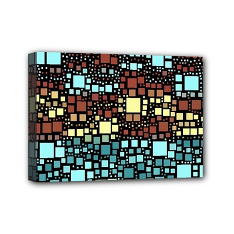 Block On Block, Aqua Mini Canvas 7  X 5  by MoreColorsinLife