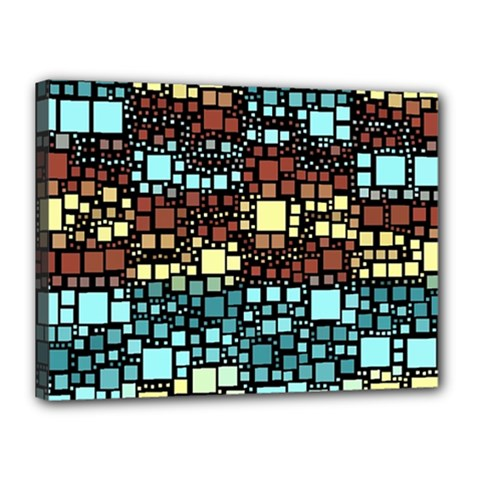 Block On Block, Aqua Canvas 16  X 12  by MoreColorsinLife