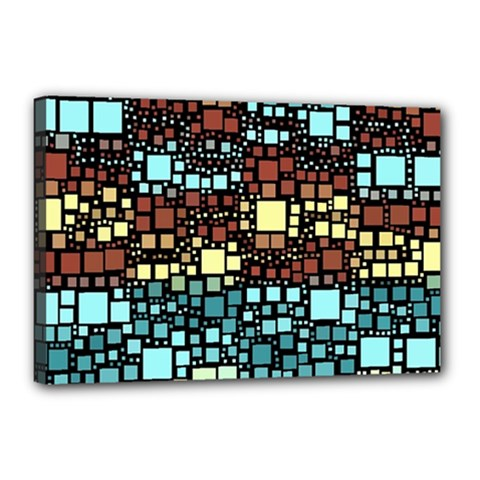 Block On Block, Aqua Canvas 18  X 12  by MoreColorsinLife