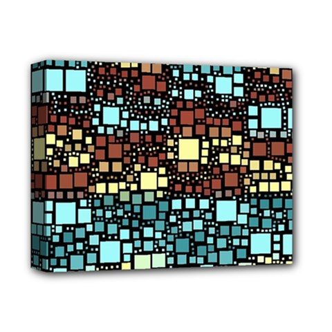 Block On Block, Aqua Deluxe Canvas 14  X 11  by MoreColorsinLife