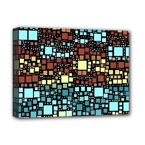 Block On Block, Aqua Deluxe Canvas 16  X 12   by MoreColorsinLife