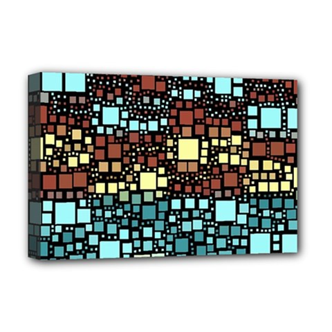 Block On Block, Aqua Deluxe Canvas 18  X 12   by MoreColorsinLife