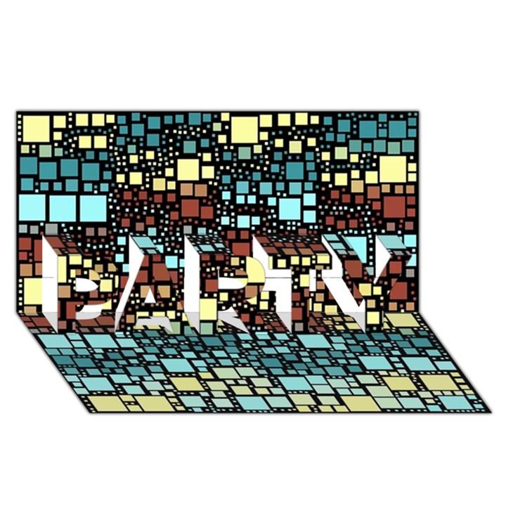 Block On Block, Aqua PARTY 3D Greeting Card (8x4)