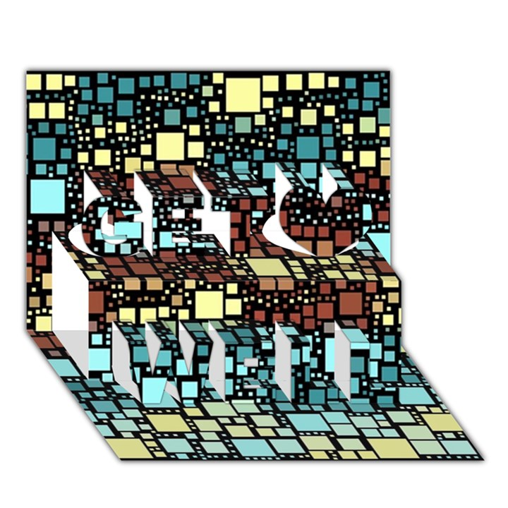Block On Block, Aqua Get Well 3D Greeting Card (7x5)