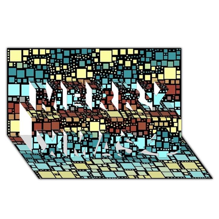Block On Block, Aqua Merry Xmas 3D Greeting Card (8x4)