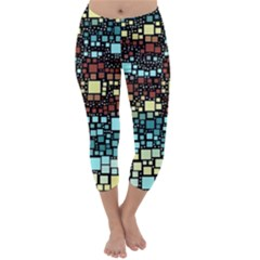 Block On Block, Aqua Capri Winter Leggings  by MoreColorsinLife