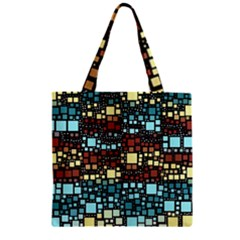 Block On Block, Aqua Zipper Grocery Tote Bag
