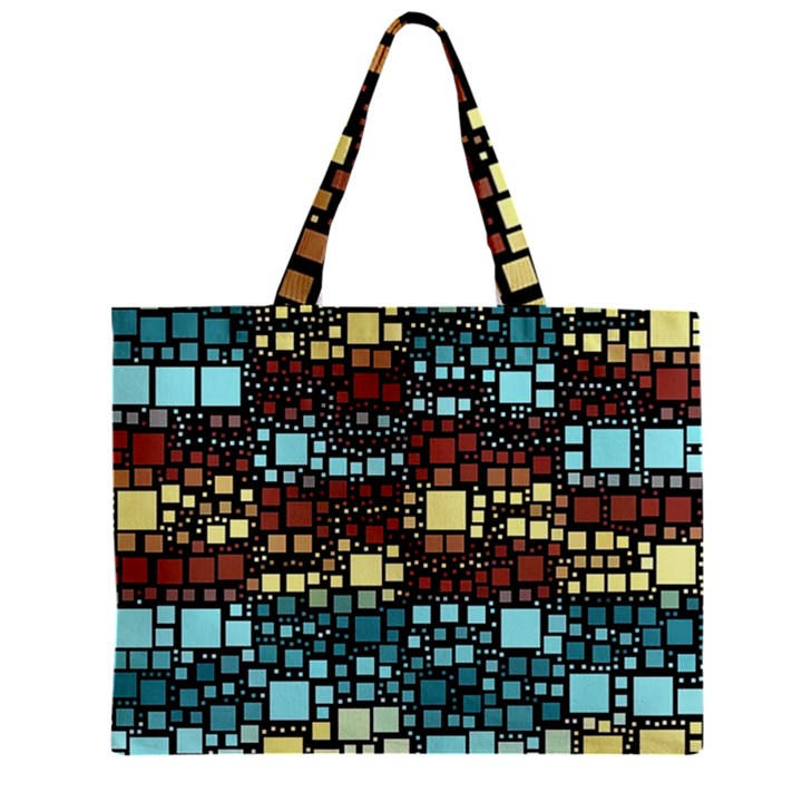 Block On Block, Aqua Zipper Mini Tote Bag